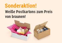 Sonderaktion! Weiße Postkartons zum Preis von braunen!
